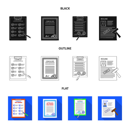 Vector design of form and document icon. Collection of form and mark vector icon for stock.
