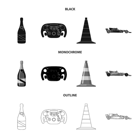 Vector design of car and rally symbol. Set of car and race vector icon for stock. Vectores