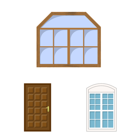 Vector illustration of door and front icon. Collection of door and wooden stock vector illustration. Stock Illustratie