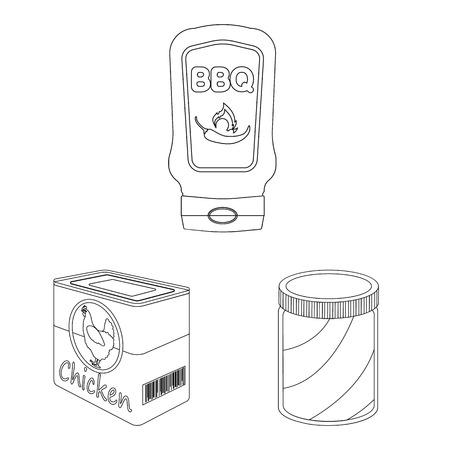 캔과 음식 기호의 벡터 디자인입니다. 웹에 대 한 수 및 패키지 주식 기호 집합입니다. 벡터 (일러스트)