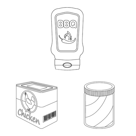 Wektor wzór symbolu puszki i żywności. Zestaw może i symbol giełdowy pakiet dla sieci web. Ilustracje wektorowe