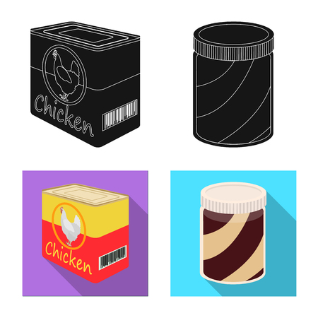 Isolated object of can and food icon. Collection of can and package stock symbol for web. Illustration
