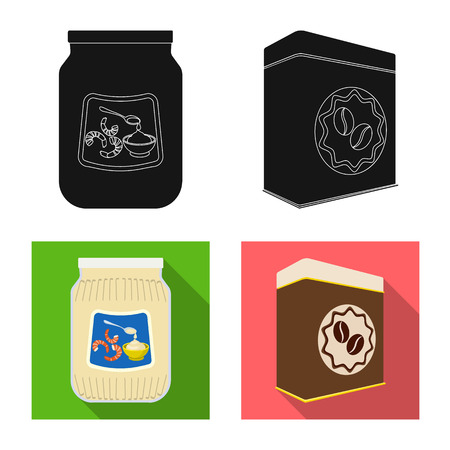Vector illustration of can and food logo. Collection of can and package stock vector illustration. Ilustração