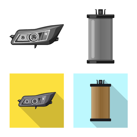 Vector illustration of auto and part icon. Collection of auto and car stock symbol for web. Illustration