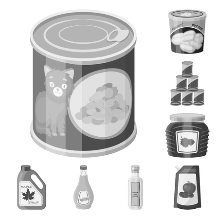 Vector illustration of can and food logo. Set of can and package vector icon for stock. Ilustrace