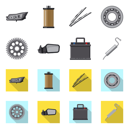 Isolated object of auto and part logo. Set of auto and car stock vector illustration.