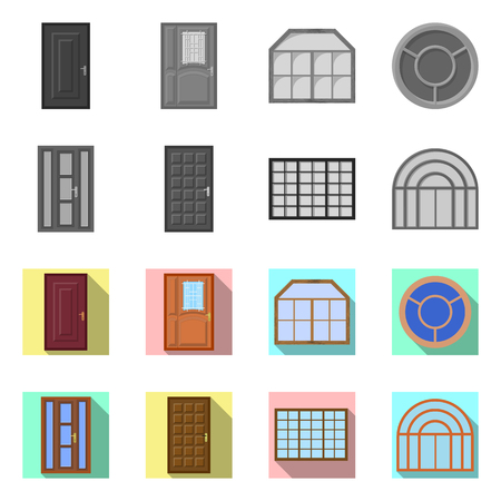 Isolated object of door and front symbol. Set of door and wooden stock vector illustration.