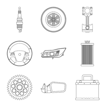 Vector design of auto and part logo. Collection of auto and car stock symbol for web.