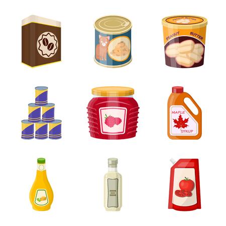 Oggetto isolato di lattina e logo alimentare. Raccolta di lattina e pacchetto simbolo azionario per il web.