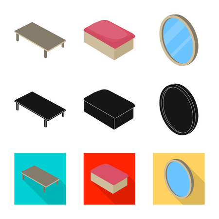 Vector design of bedroom and room icon. Collection of bedroom and furniture stock vector illustration.