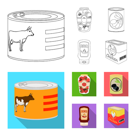 Vector design of can and food icon. Set of can and package vector icon for stock.