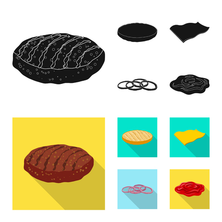 Vector illustration of burger and sandwich icon. Set of burger and slice stock symbol for web. Zdjęcie Seryjne - 113858166