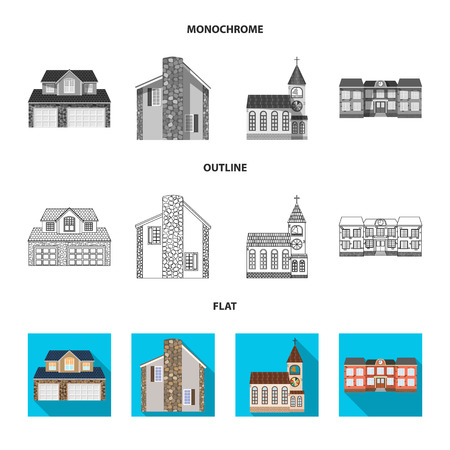 Vector design of building and front logo. Collection of building and roof stock symbol for web.
