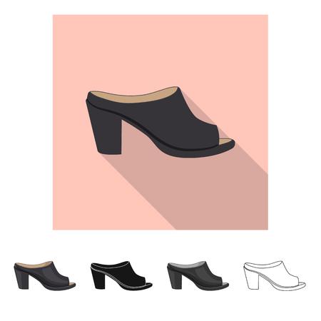 Izolowany obiekt znaku obuwia i kobiety. Zestaw obuwia i stóp wektor ikona na magazynie. Ilustracje wektorowe