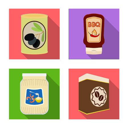 Vector illustration of can and food sign. Set of can and package vector icon for stock. Illustration