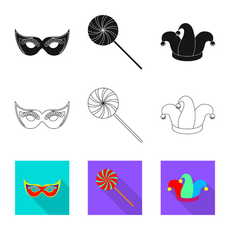 Isolated object of party and birthday icon. Set of party and celebration vector icon for stock.