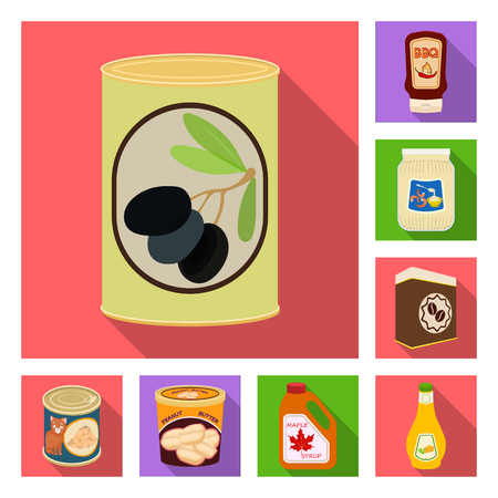 Vector design of can and food logo. Collection of can and package vector icon for stock. Ilustrace