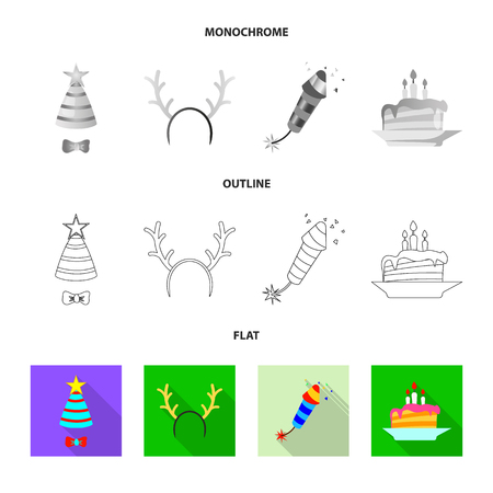 Vector design of party and birthday sign. Collection of party and celebration stock symbol for web. Ilustração