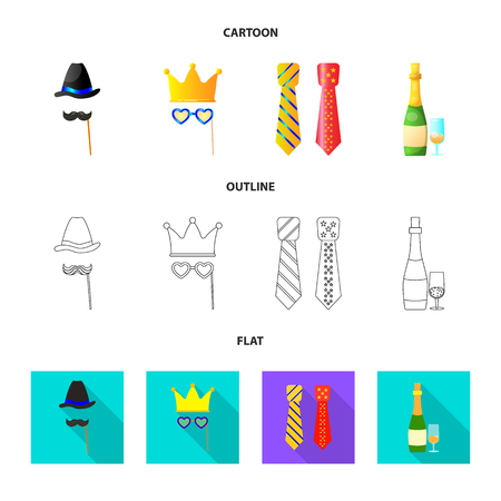 Isolated object of party and birthday logo. Set of party and celebration stock symbol for web.
