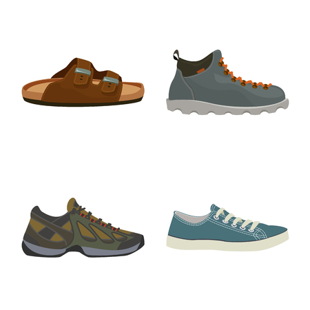 Isolated object of shoe and footwear symbol. Set of shoe and foot vector icon for stock.