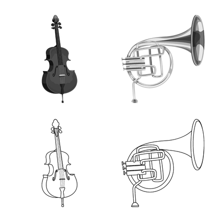 Vector illustration of music and tune logo. Set of music and tool stock vector illustration. Banque d'images - 113899722