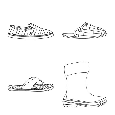 Vector design of shoe and footwear sign. Set of shoe and foot stock symbol for web.