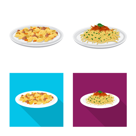 Isolated object of pasta and carbohydrate icon. Collection of pasta and macaroni stock vector illustration.