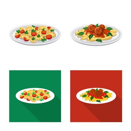 Vector illustration of pasta and carbohydrate icon. Collection of pasta and macaroni vector icon for stock. Illustration