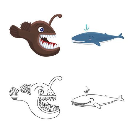 Vector design of sea and animal icon. Collection of sea and marine vector icon for stock.