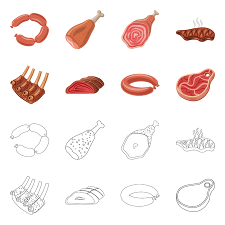 Vector illustration of meat and ham icon. Set of meat and cooking vector icon for stock.