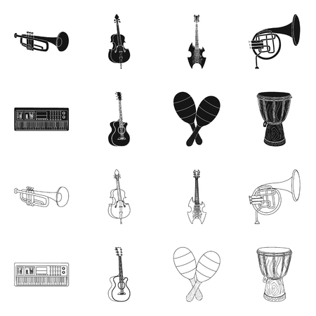 Vector illustration of music and tune symbol. Collection of music and tool stock vector illustration.