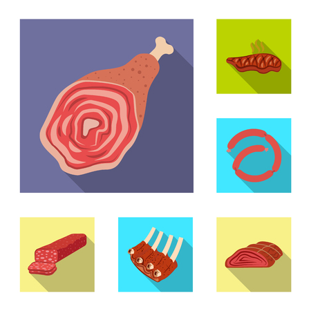 Isolated object of meat and ham symbol. Collection of meat and cooking stock vector illustration.