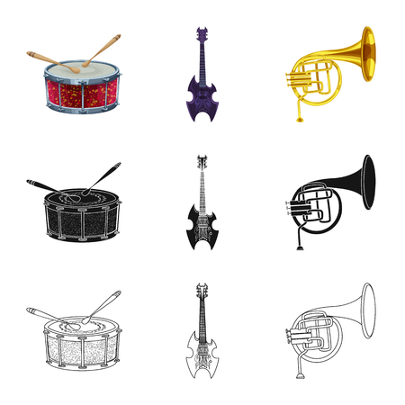 Isolated object of music and tune symbol. Collection of music and tool vector icon for stock. Illusztráció
