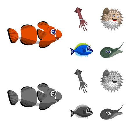 Isolated object of sea and animal symbol. Collection of sea and marine vector icon for stock.