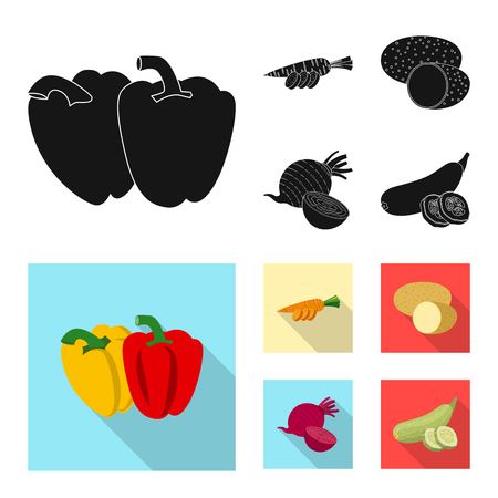 Vector design of vegetable and fruit logo. Set of vegetable and vegetarian stock vector illustration.