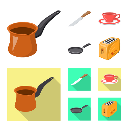 Vector design of kitchen and cook sign. Collection of kitchen and appliance vector icon for stock. Illustration
