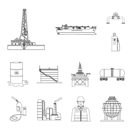 Isolated object of oil and gas icon. Set of oil and petrol stock vector illustration.