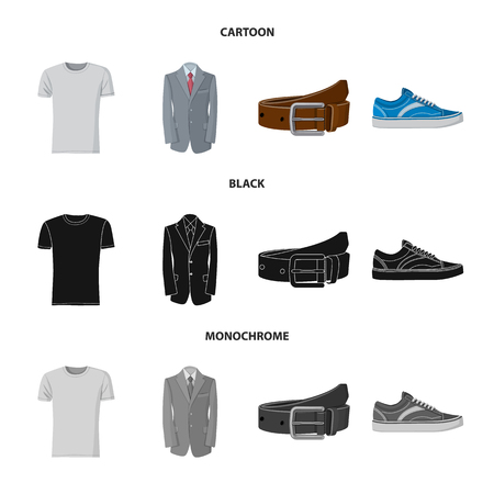 Vector design of man and clothing symbol. Set of man and wear stock symbol for web.
