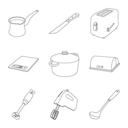 Vector illustration of kitchen and cook symbol. Set of kitchen and appliance vector icon for stock. Vektorové ilustrace