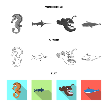 Vector design of sea and animal symbol. Set of sea and marine vector icon for stock.