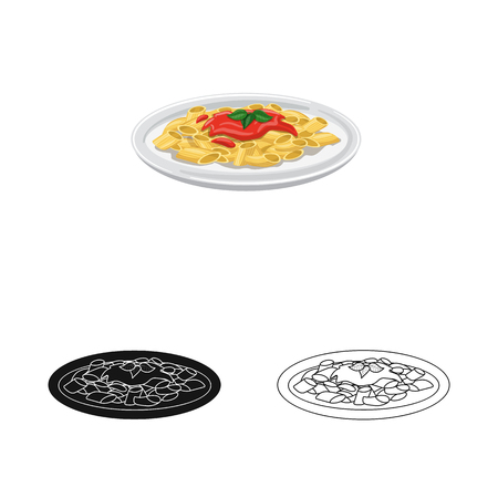 Vector design of pasta and carbohydrate symbol. Collection of pasta and macaroni stock vector illustration.