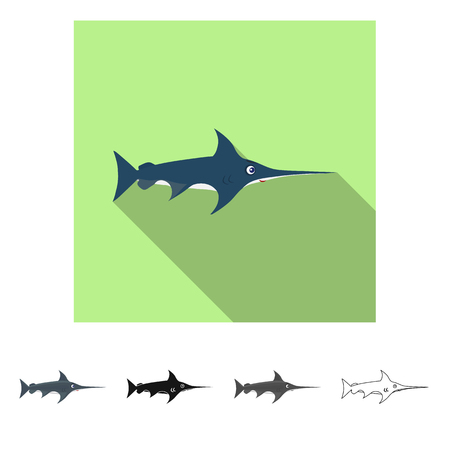 Vector design of sea and animal symbol. Set of sea and marine stock symbol for web. Illustration