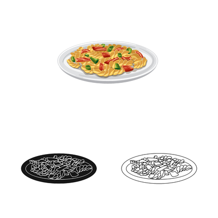 Vector design of pasta and carbohydrate icon. Collection of pasta and macaroni vector icon for stock.