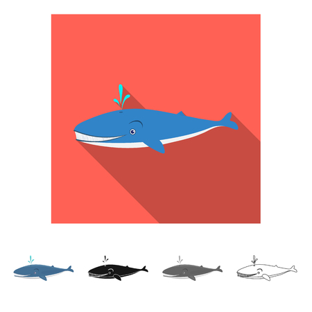 Vector illustration of sea and animal sign. Collection of sea and marine stock symbol for web. Illustration