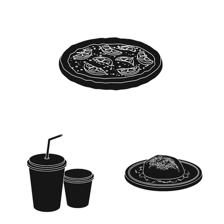 Vector illustration of pizza and food sign. Set of pizza and italy stock vector illustration.