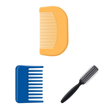 Vector illustration of brush and hair logo. Collection of brush and hairbrush stock vector illustration.