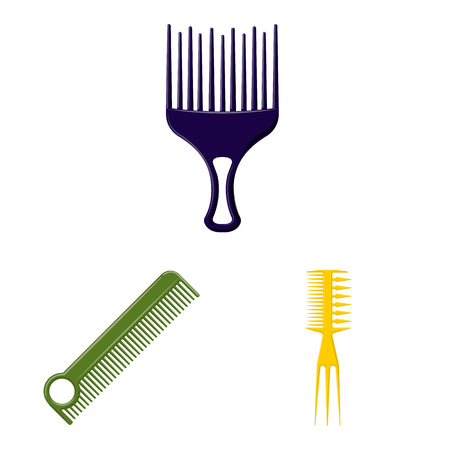 Isolated object of brush and hair icon. Set of brush and hairbrush stock symbol for web.