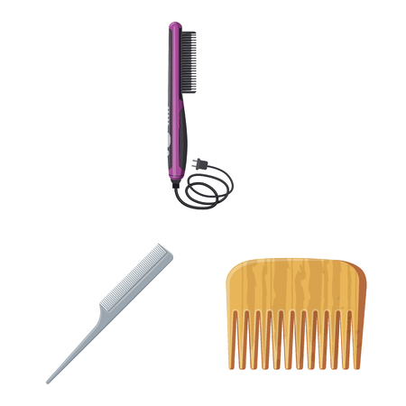 Vector design of brush and hair symbol. Set of brush and hairbrush vector icon for stock.