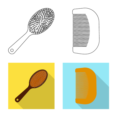Vector illustration of brush and hair symbol. Collection of brush and hairbrush stock symbol for web.