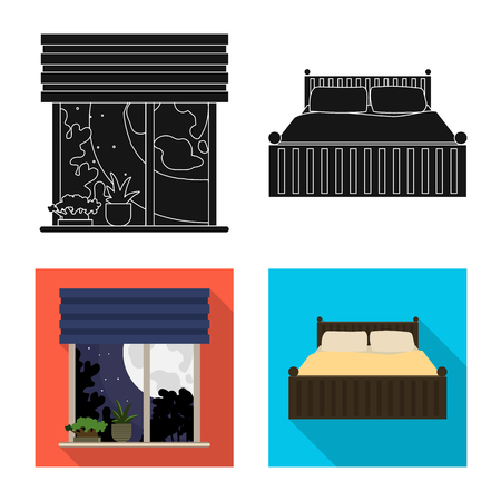 Vector illustration of dreams and night symbol. Set of dreams and bedroom stock symbol for web.